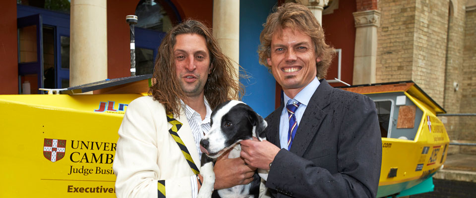 Anton and Mark with Anton's dog Milo