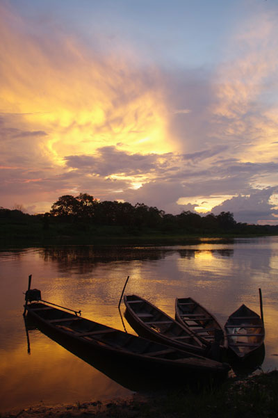 boats moored on the Amazon river