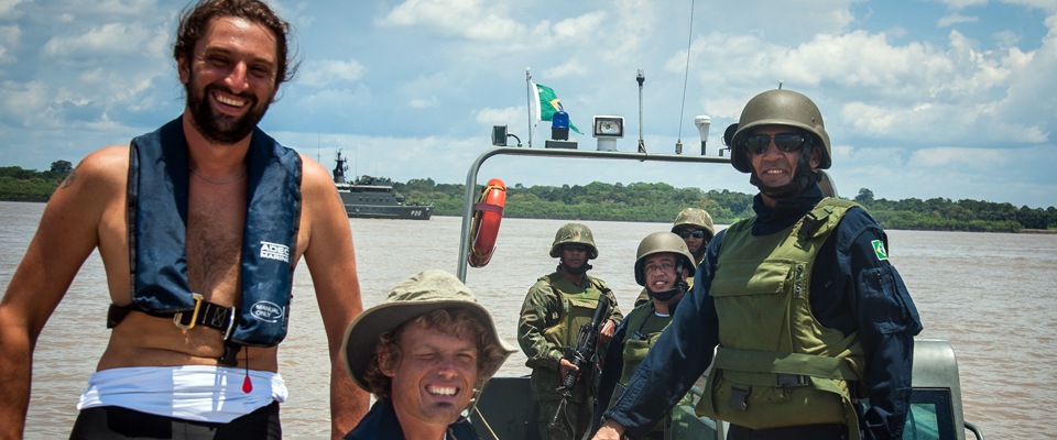 Anton and Mark with the Brazilian marines