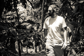 Anton walking through the jungle